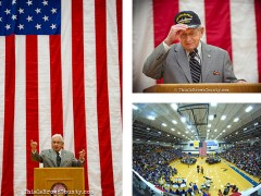 Ed Harrell, survivor of the worst Naval disaster in US History, gives his testimony during Veteran's Day event