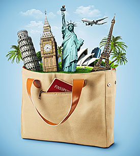 August travel bag with monuments